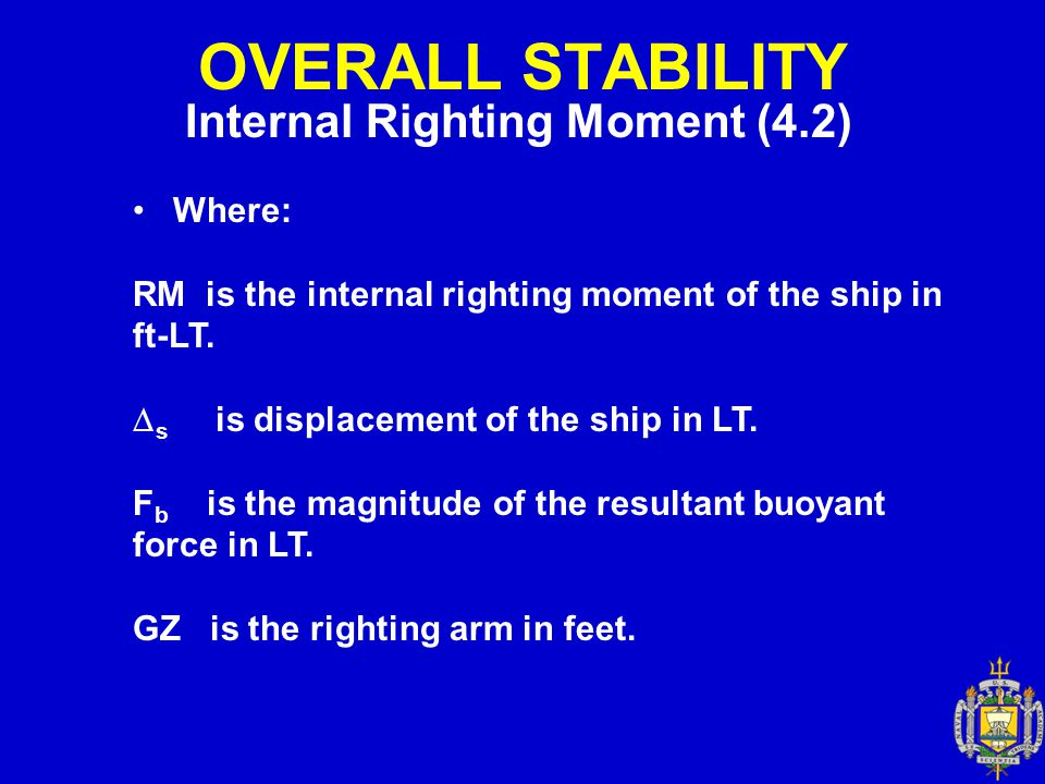 OVERALL STABILITY Internal Righting Moment (4.2) Where: