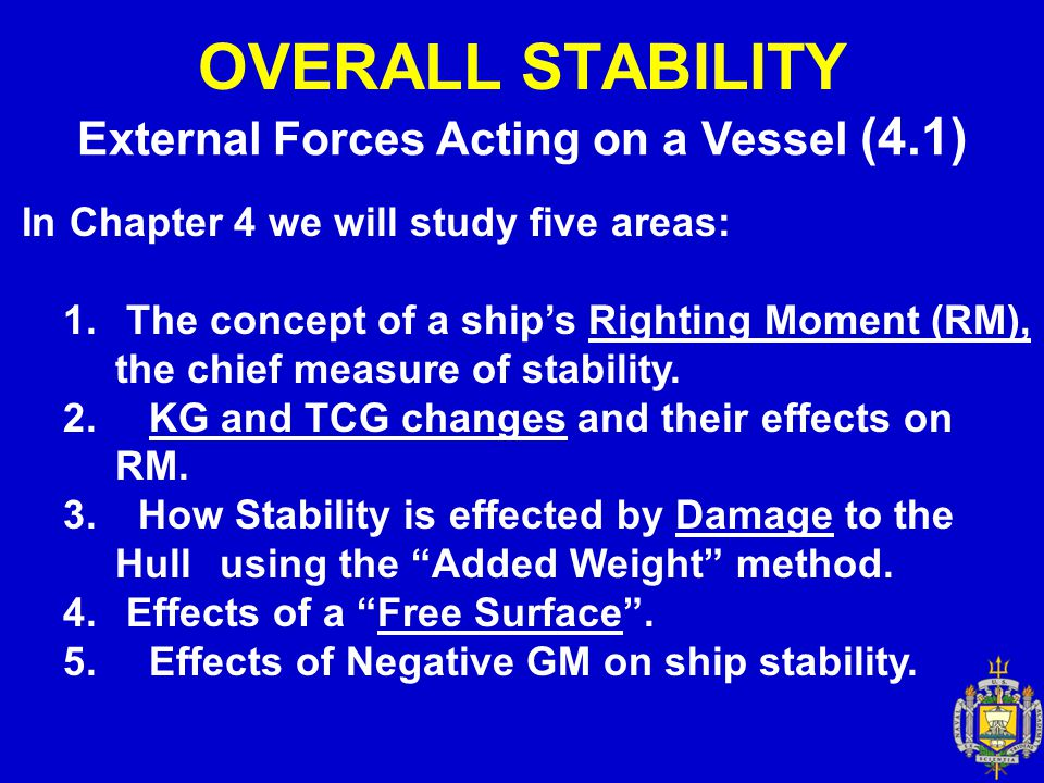 External Forces Acting on a Vessel (4.1)