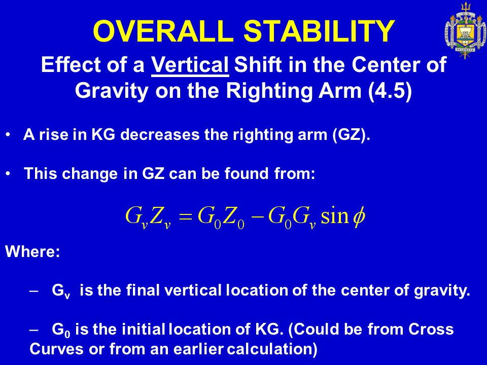 OVERALL STABILITY Effect of a Vertical Shift in the Center of Gravity on the Righting Arm (4.5) A rise in KG decreases the righting arm (GZ).