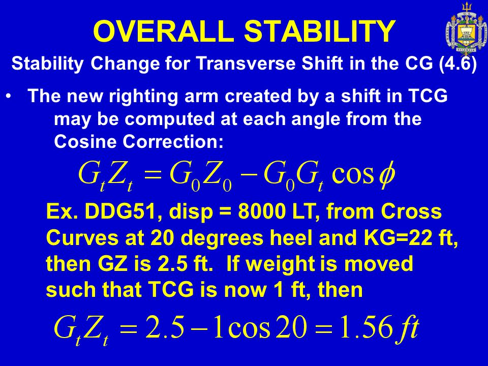 Stability Change for Transverse Shift in the CG (4.6)