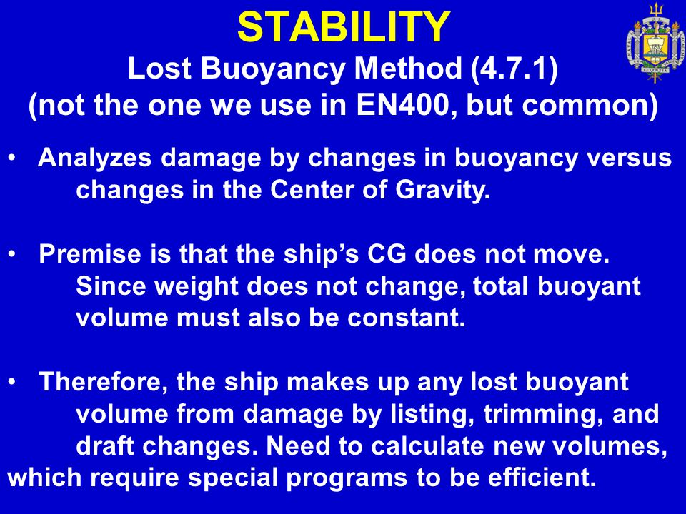 Lost Buoyancy Method (4.7.1) (not the one we use in EN400, but common)