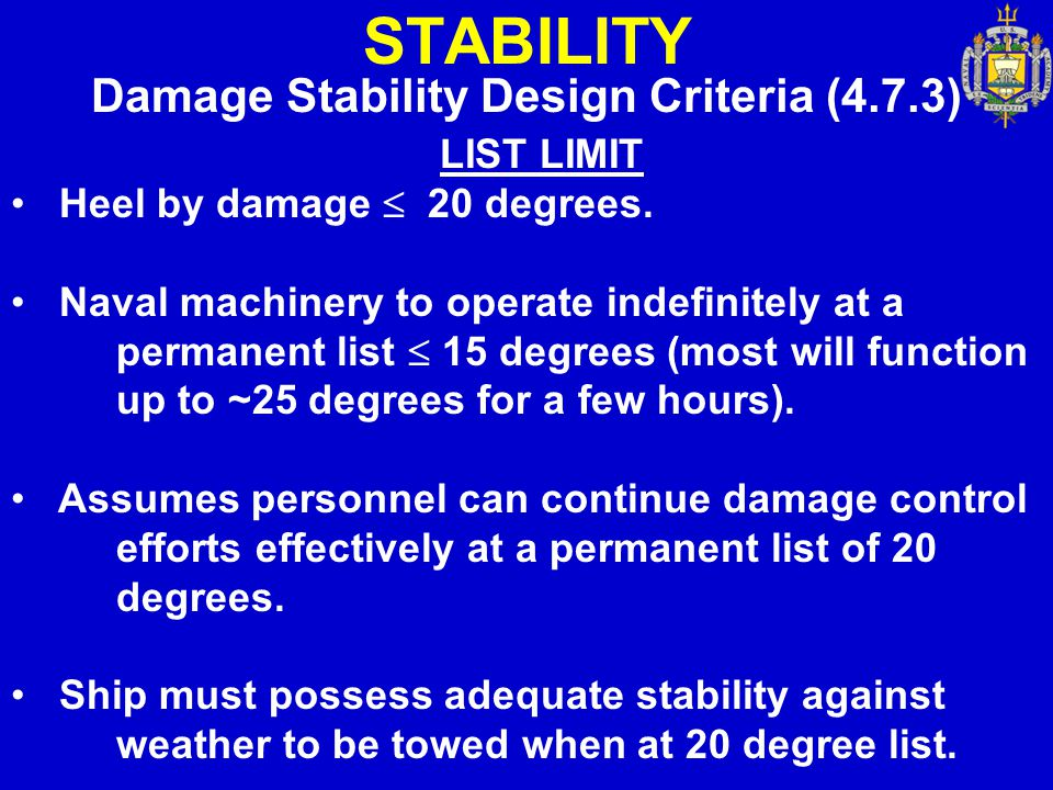 Damage Stability Design Criteria (4.7.3)