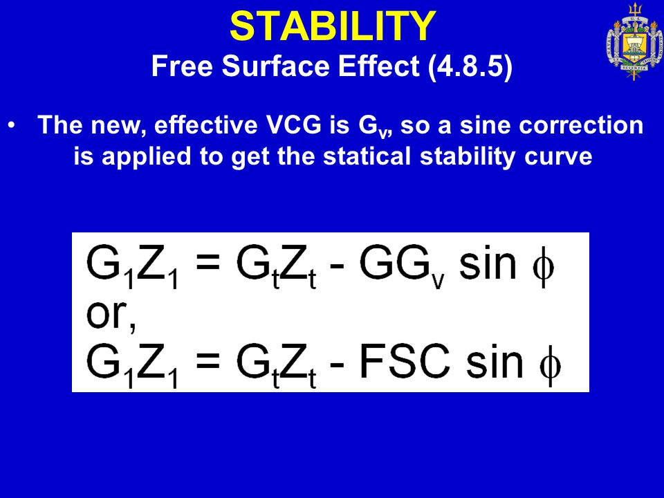 STABILITY Free Surface Effect (4.8.5)