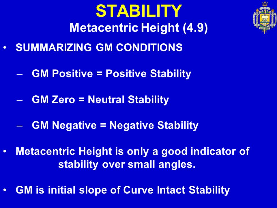 STABILITY Metacentric Height (4.9) SUMMARIZING GM CONDITIONS