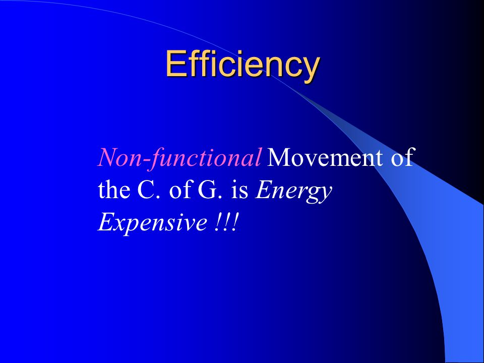 Efficiency Non-functional Movement of the C. of G. is Energy Expensive !!!