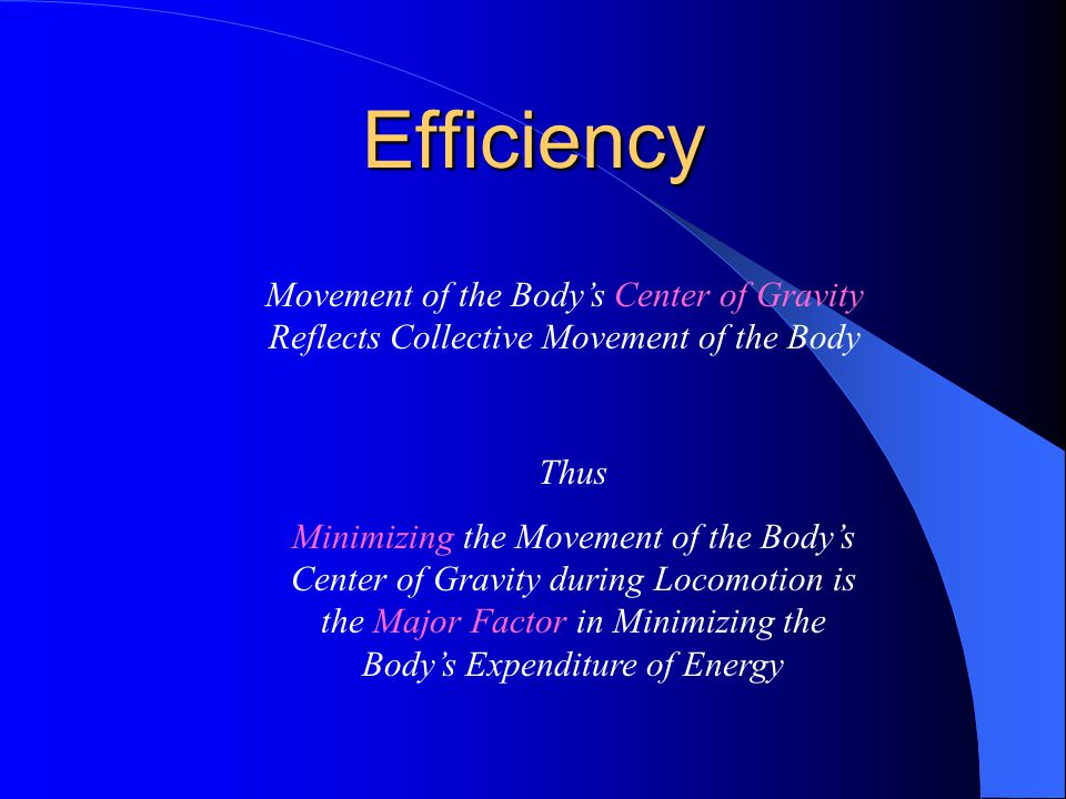 Efficiency Movement of the Body's Center of Gravity Reflects Collective Movement of the Body. Thus.
