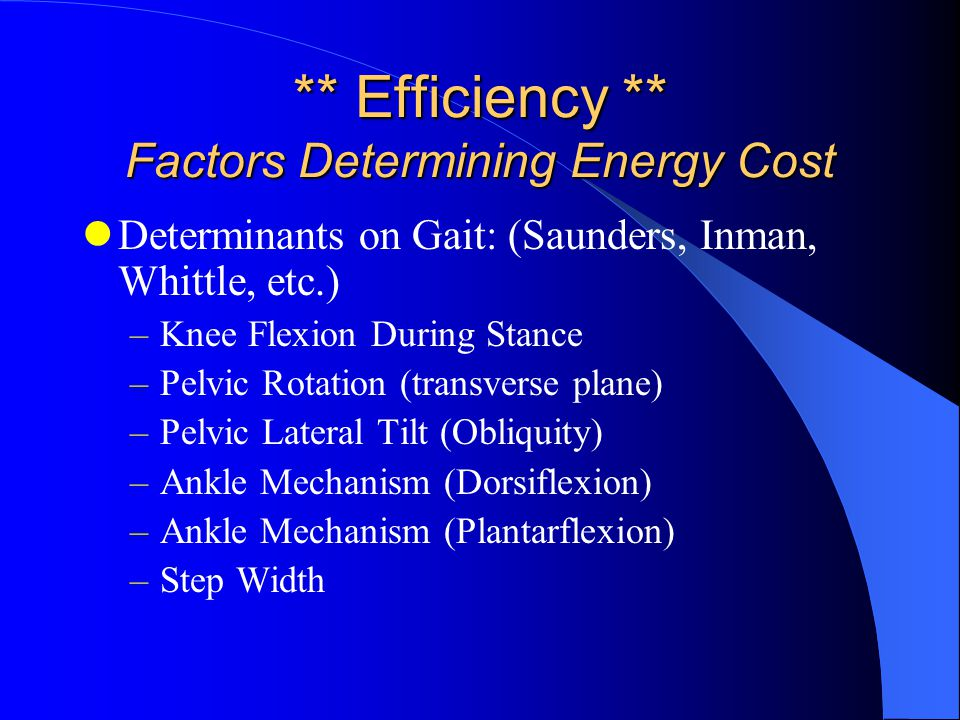 ** Efficiency ** Factors Determining Energy Cost