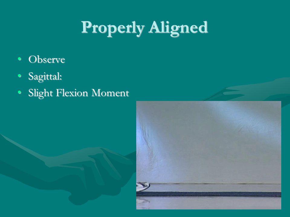 Properly Aligned Observe Sagittal: Slight Flexion Moment