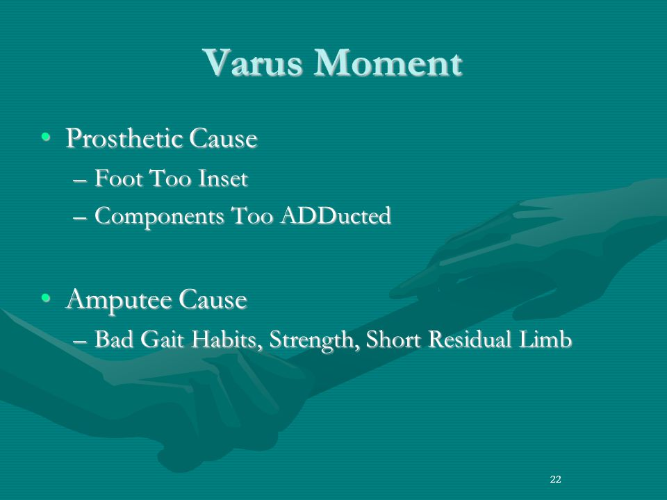 Varus Moment Prosthetic Cause Amputee Cause Foot Too Inset