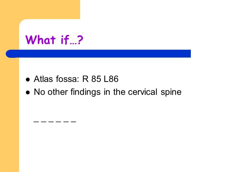 What if… Atlas fossa: R 85 L86