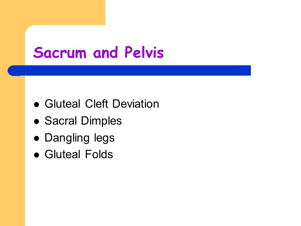 Sacrum and Pelvis Gluteal Cleft Deviation Sacral Dimples Dangling legs