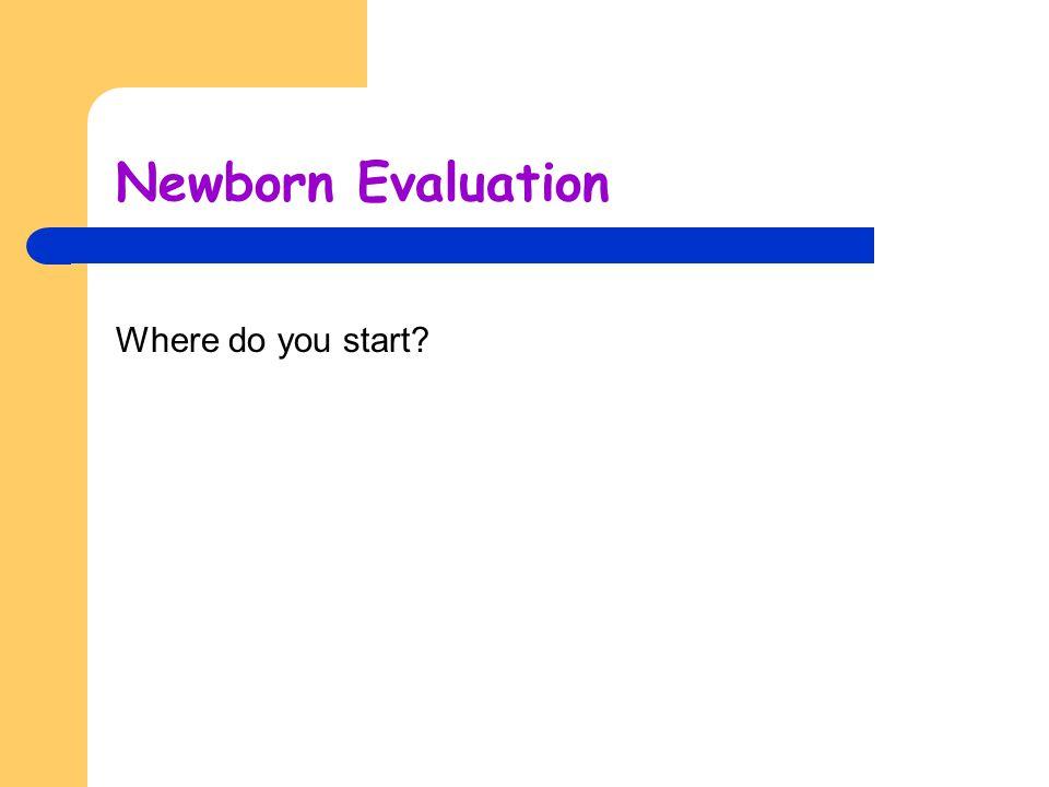Newborn Evaluation Where do you start