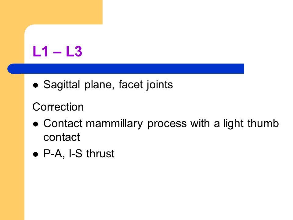 L1 – L3 Sagittal plane, facet joints Correction