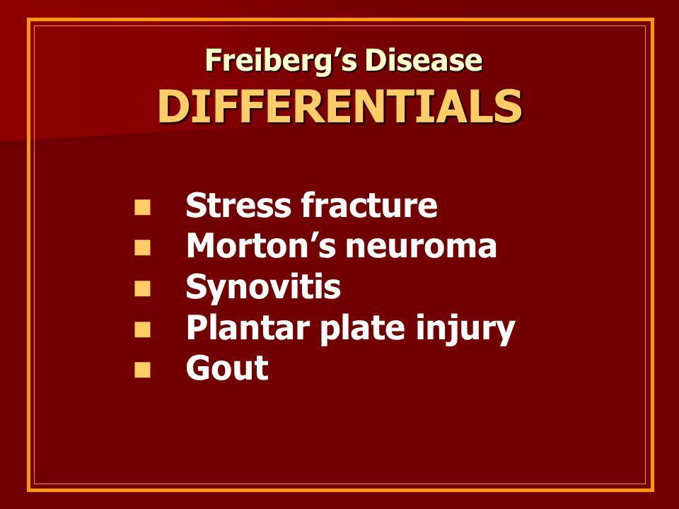 DIFFERENTIALS Stress fracture Morton's neuroma Synovitis