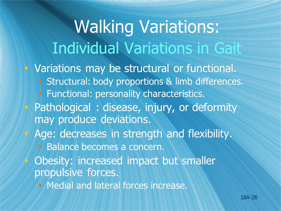 Walking Variations: Individual Variations in Gait