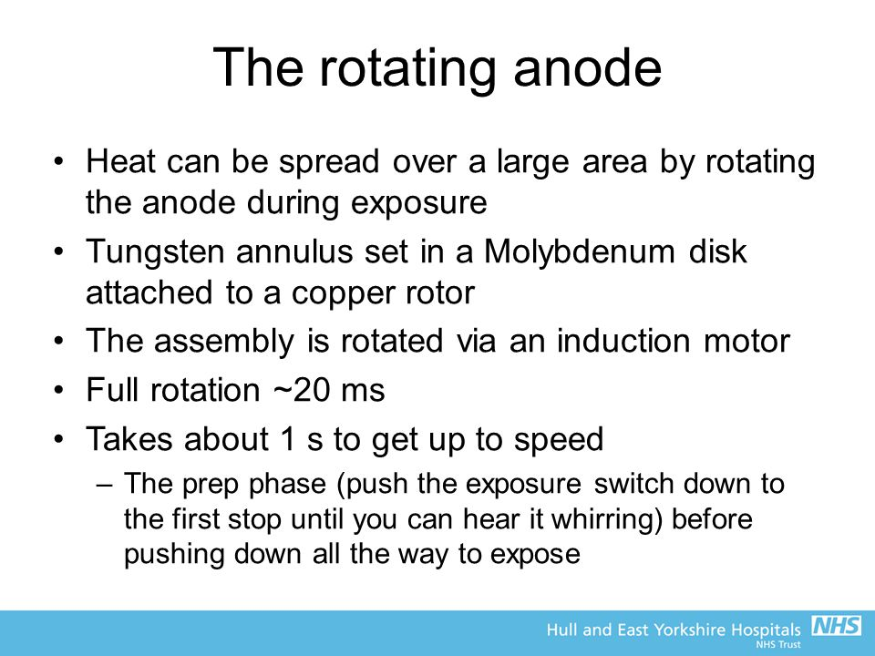 The rotating anode Heat can be spread over a large area by rotating the anode during exposure.