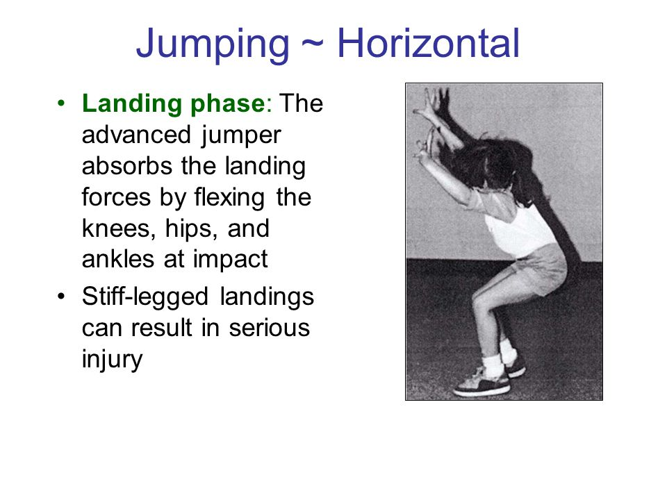 Jumping ~ Horizontal Landing phase: The advanced jumper absorbs the landing forces by flexing the knees, hips, and ankles at impact.