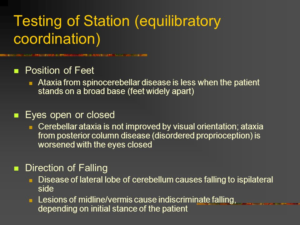 Testing of Station (equilibratory coordination)