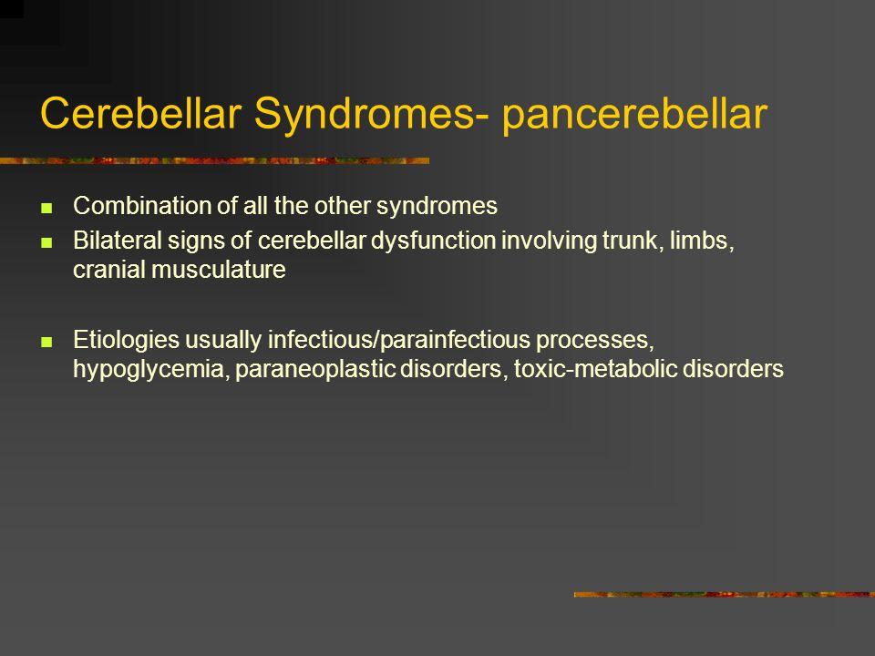 Cerebellar Syndromes- pancerebellar