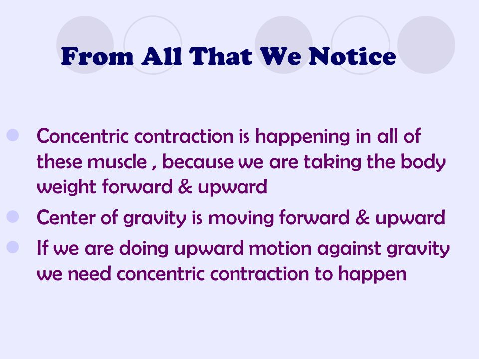 From All That We Notice Concentric contraction is happening in all of these muscle , because we are taking the body weight forward & upward.