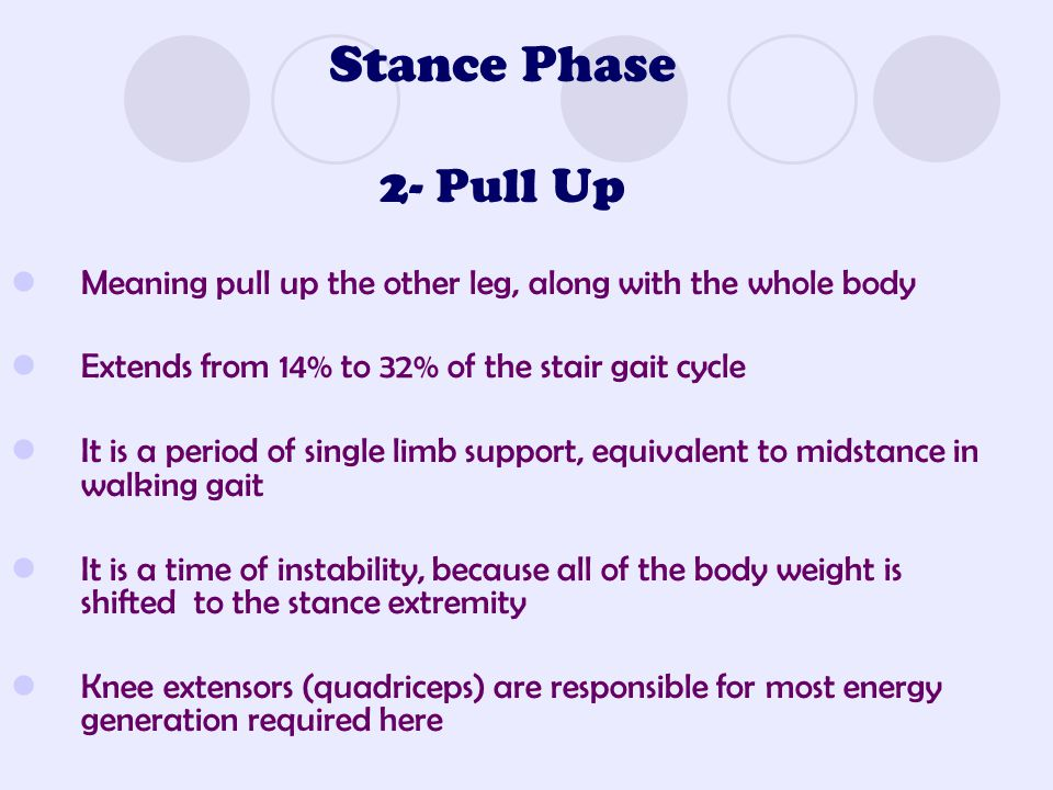 Stance Phase 2- Pull Up Meaning pull up the other leg, along with the whole body. Extends from 14% to 32% of the stair gait cycle.