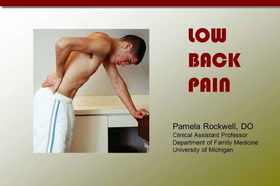 LOW BACK PAIN Pamela Rockwell, DO Clinical Assistant Professor