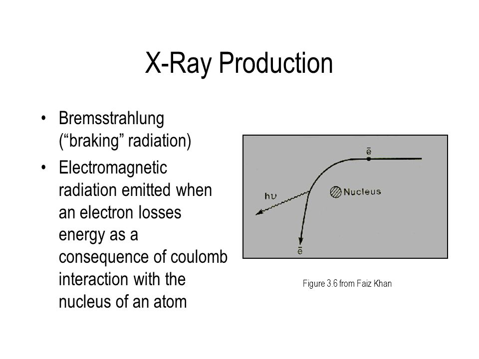 X-Ray Production Bremsstrahlung ( braking radiation)