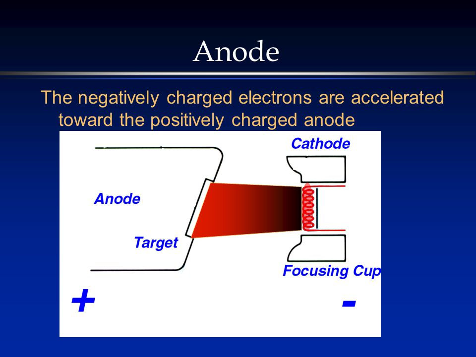 Anode The negatively charged electrons are accelerated toward the positively charged anode