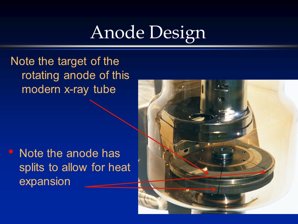 Anode Design Note the target of the rotating anode of this modern x-ray tube.