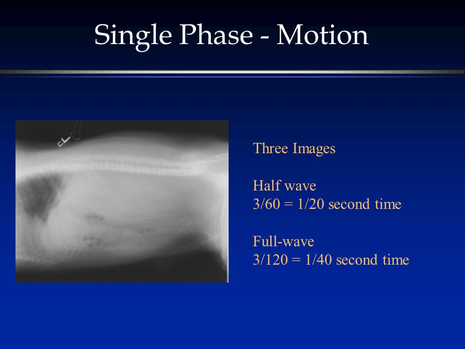 Single Phase - Motion Three Images Half wave 3/60 = 1/20 second time