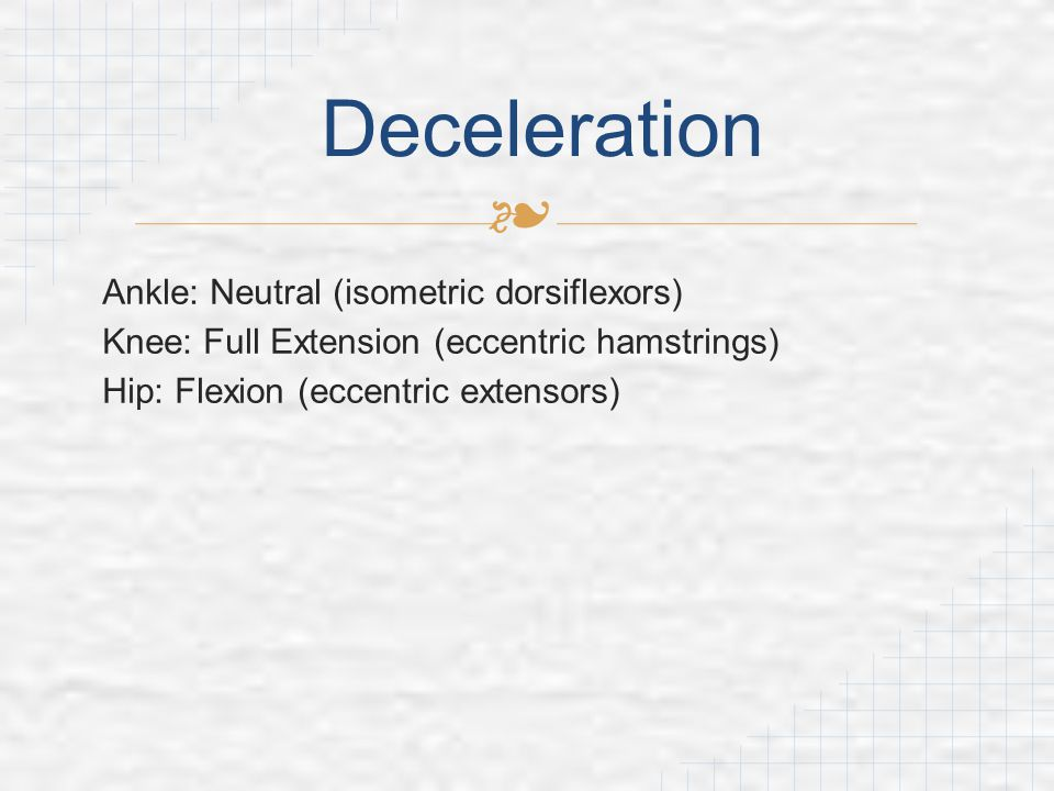 Deceleration Ankle: Neutral (isometric dorsiflexors)