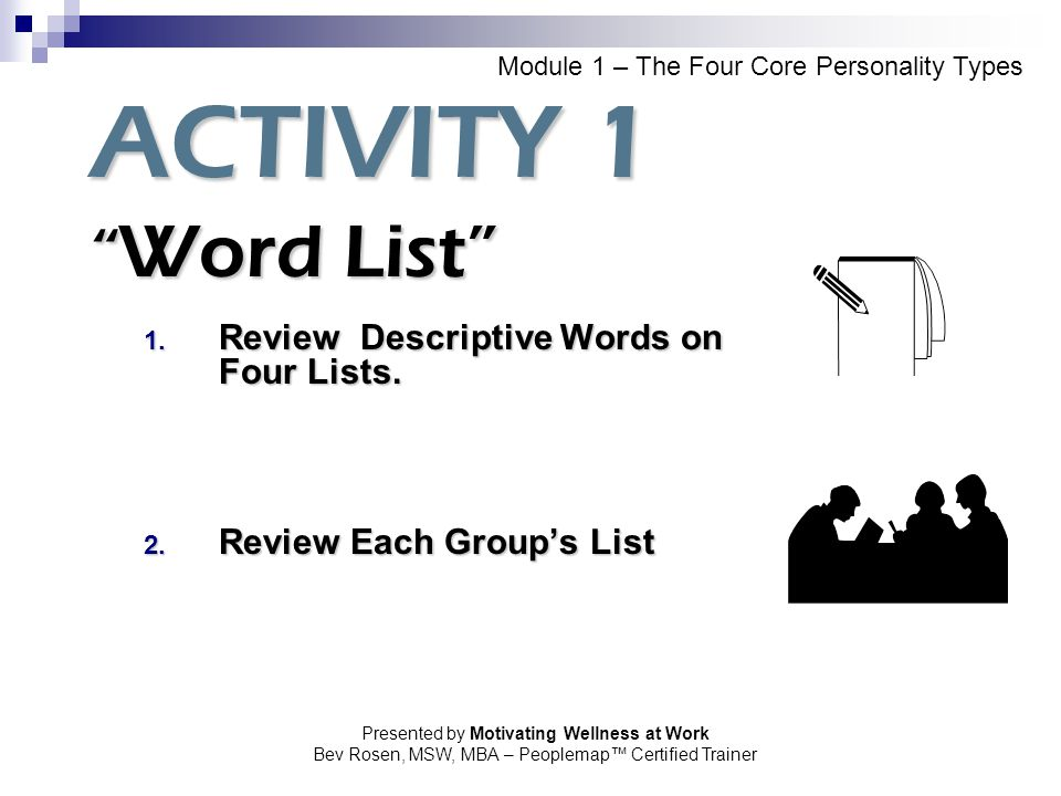 Review Descriptive Words on Four Lists. Review Each Group's List