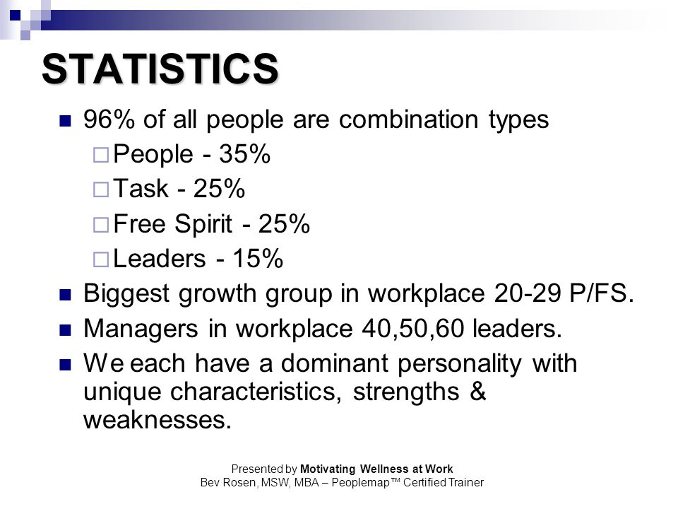 STATISTICS 96% of all people are combination types People - 35%