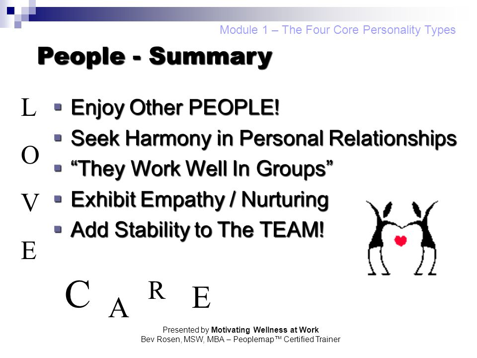 C E A L O V E R People - Summary Enjoy Other PEOPLE!