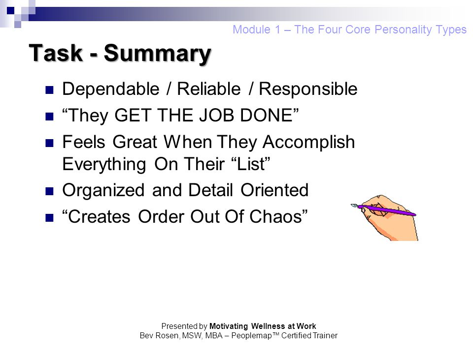 Task - Summary Dependable / Reliable / Responsible