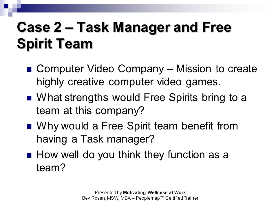 Case 2 – Task Manager and Free Spirit Team