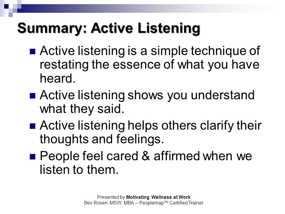 Summary: Active Listening
