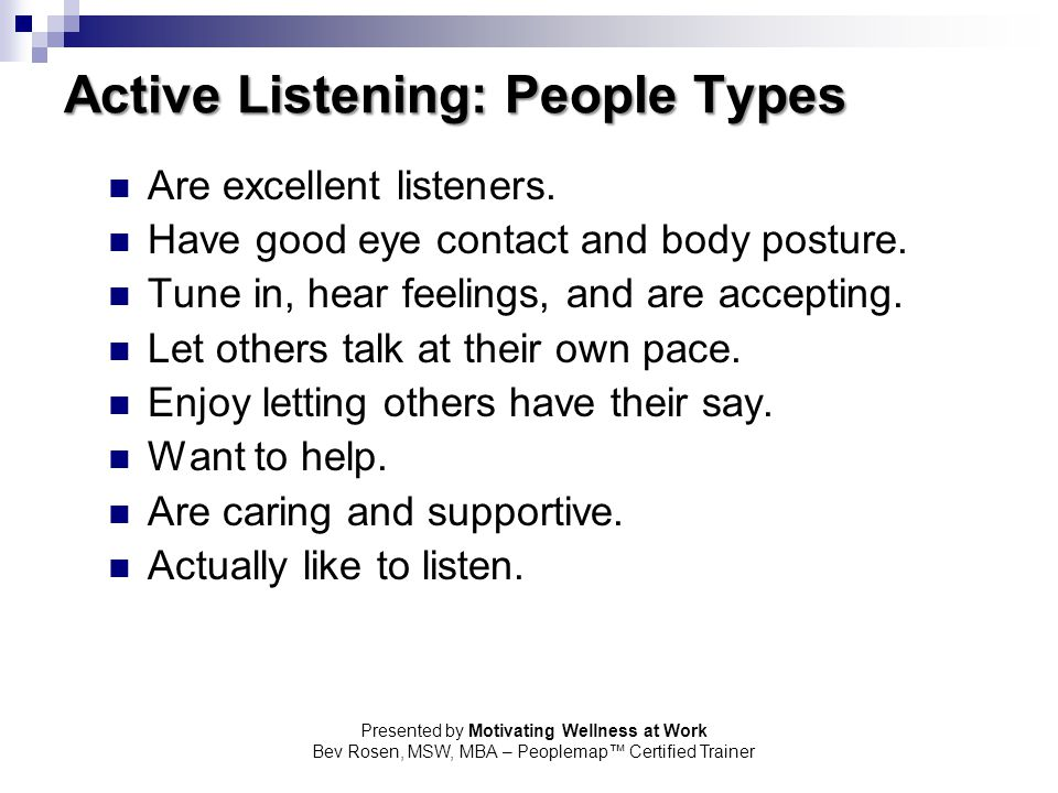 Active Listening: People Types
