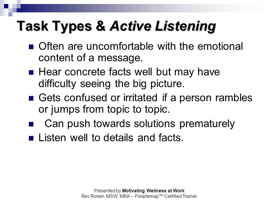 Task Types & Active Listening