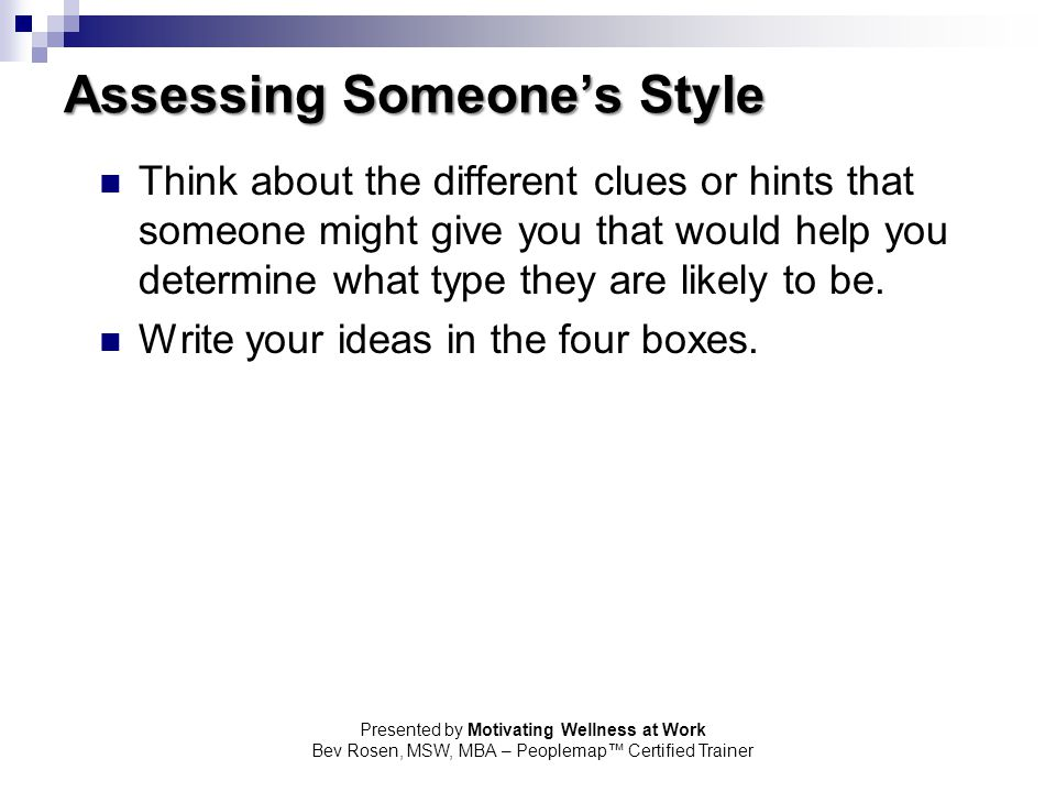Assessing Someone's Style