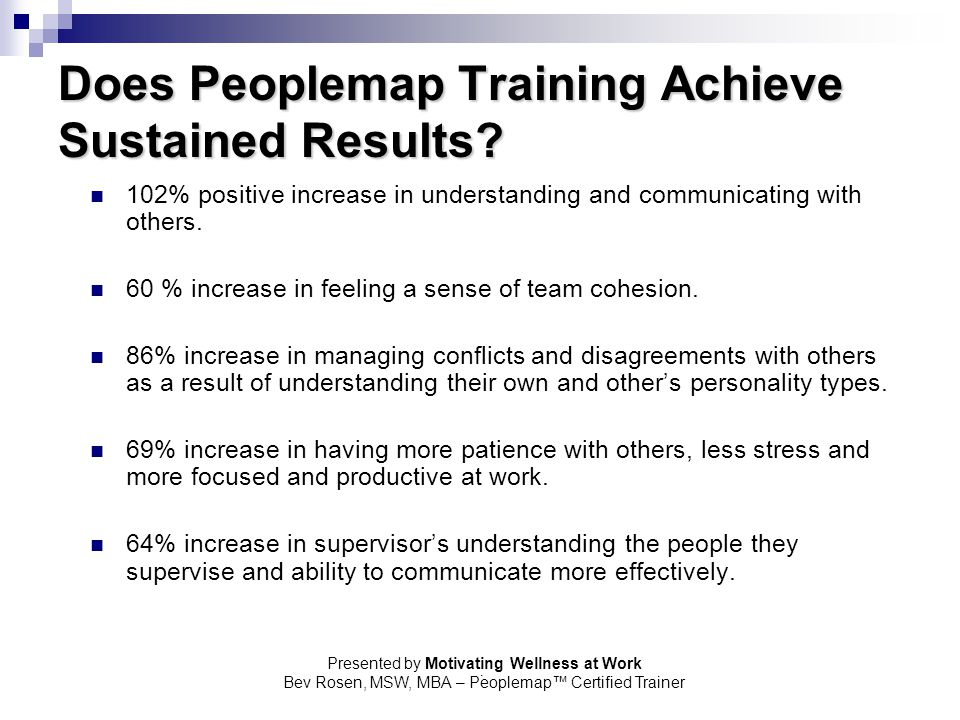 Does Peoplemap Training Achieve Sustained Results