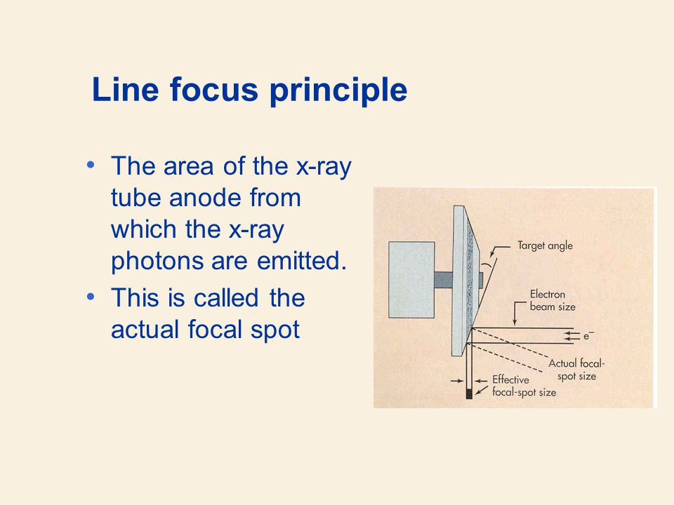 Line focus principle The area of the x-ray tube anode from which the x-ray photons are emitted.