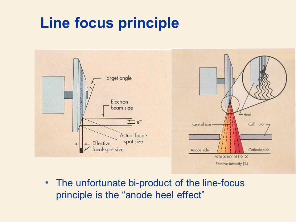 Line focus principle The unfortunate bi-product of the line-focus principle is the anode heel effect