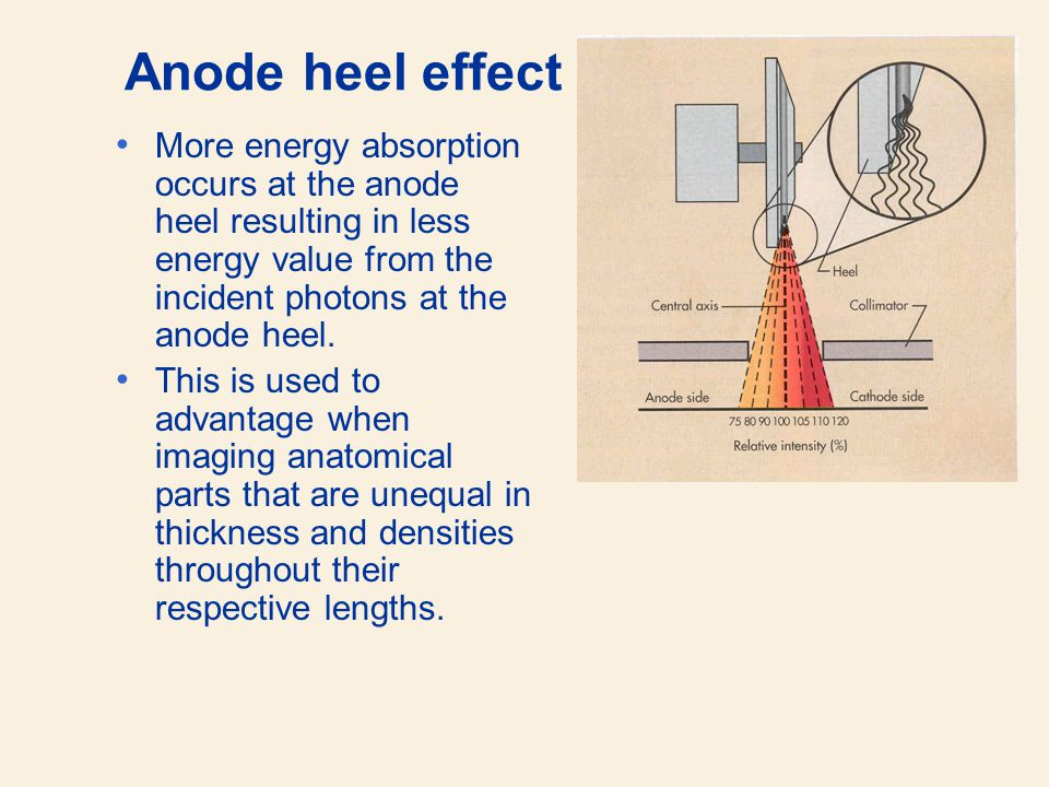 Anode heel effect More energy absorption occurs at the anode heel resulting in less energy value from the incident photons at the anode heel.