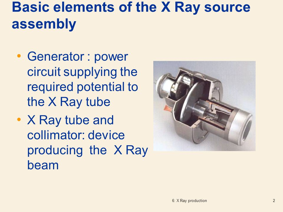 Basic elements of the X Ray source assembly