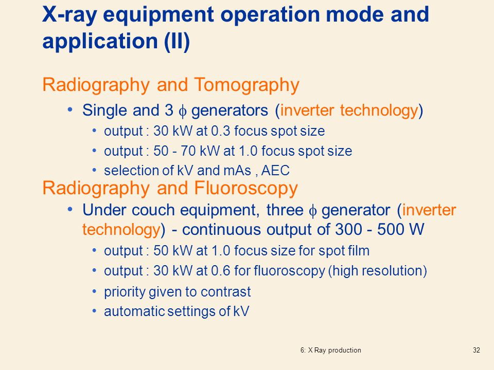 X-ray equipment operation mode and application (II)