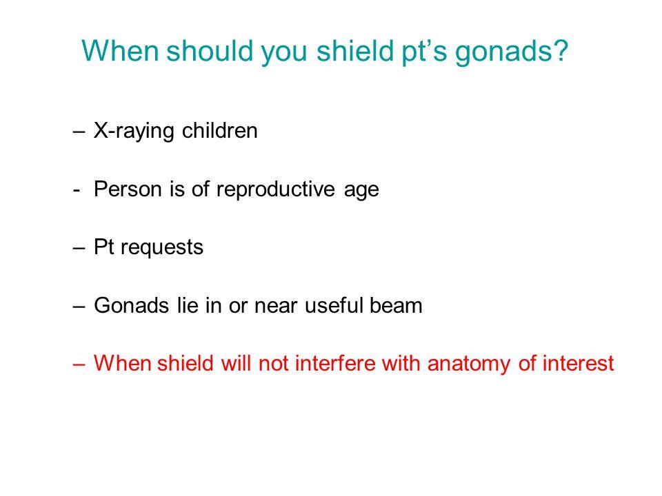 When should you shield pt's gonads