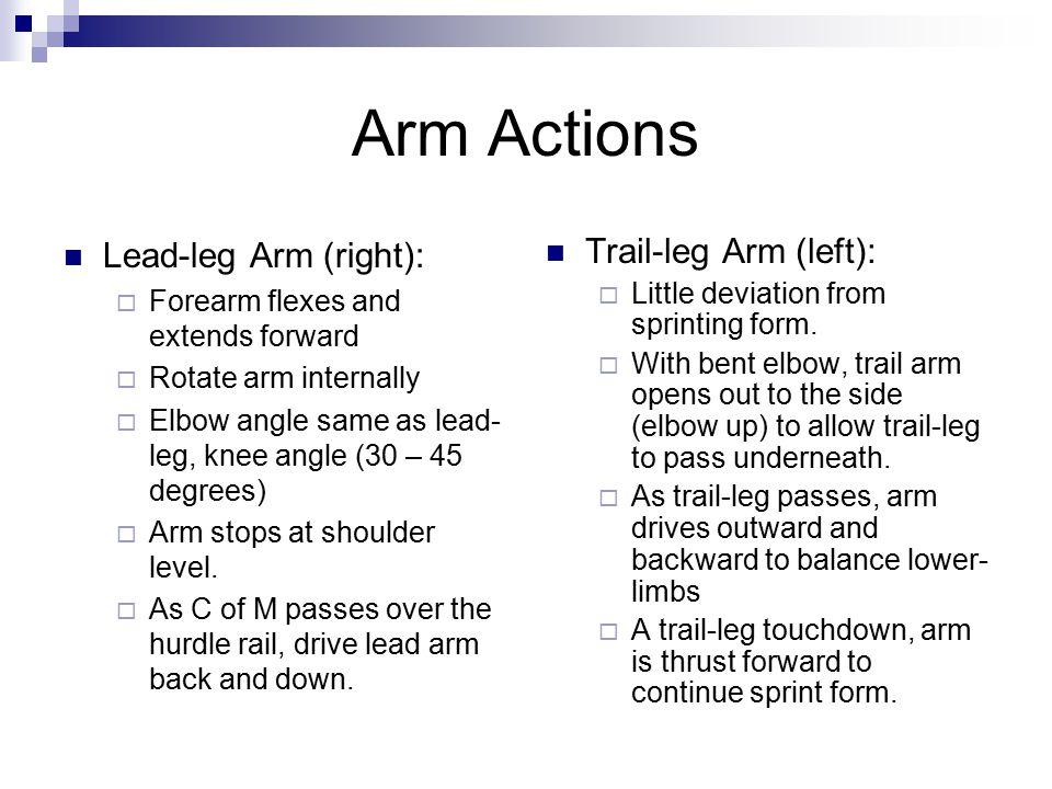 Arm Actions Lead-leg Arm (right): Trail-leg Arm (left):