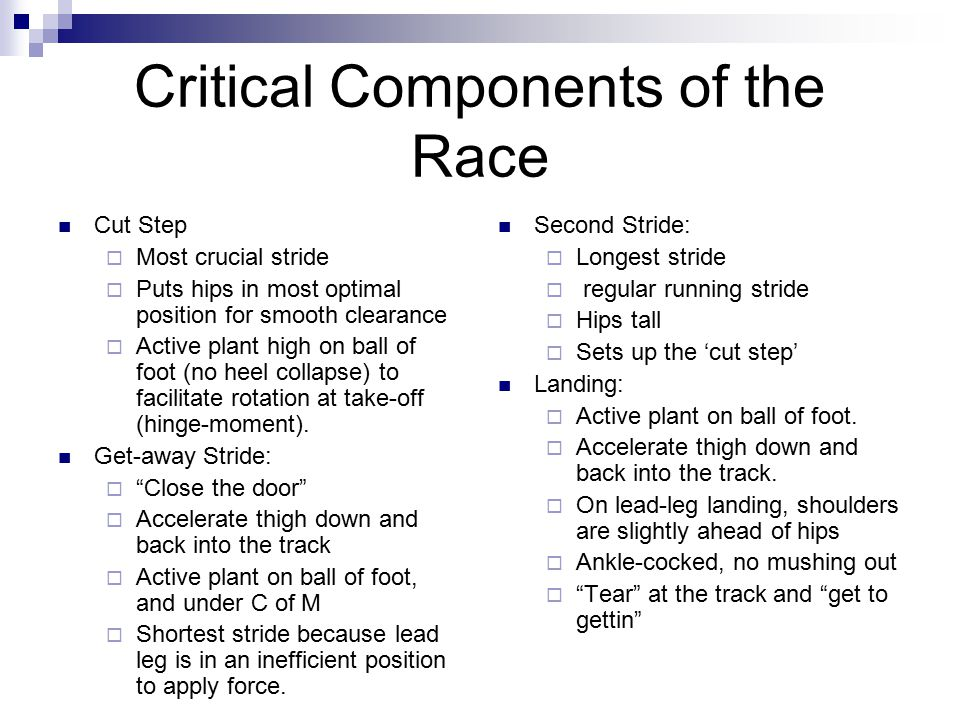 Critical Components of the Race