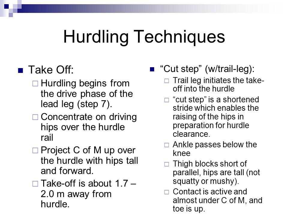 Hurdling Techniques Take Off: Cut step (w/trail-leg):